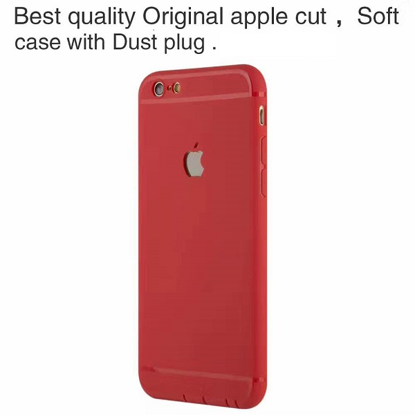 Simple Red Solid Color Soft TPU Case for iPhone 7  7 Plus 7f55dacd2d89